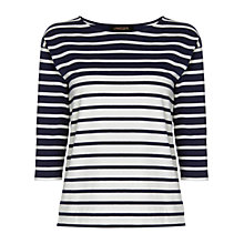 Buy Jaeger Stripe Patch Pocket Top, Multi Navy Online at johnlewis.com