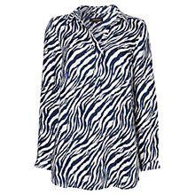 Buy Jaeger Zebra Print Linen Tunic Top, Ivory / Navy Online at johnlewis.com