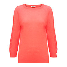 Buy Whistles Magda Ribbed Sleeve Top, Coral Online at johnlewis.com