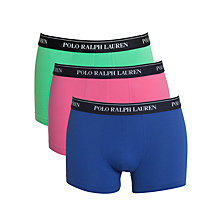 Buy Polo Ralph Lauren Cotton Trunks, Pack of 3, Green/Pink/Blue Online at johnlewis.com