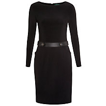 Buy Lauren Ralph Lauren Belted Ponte Boatneck Dress, Black Online at johnlewis.com