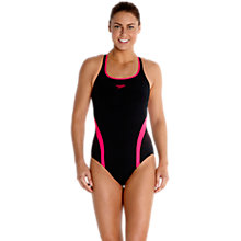 Buy Speedo Endurance Pinnacle Kickback Swimsuit, Black/Pink Online at johnlewis.com