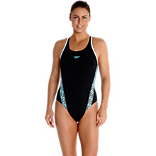 Buy Speedo Monogram Muscleback Swimsuit, Black/Blue Online at johnlewis.com