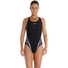 Buy Speedo Placement Powerback Swimsuit, Black/Blue/Pink Online at johnlewis.com