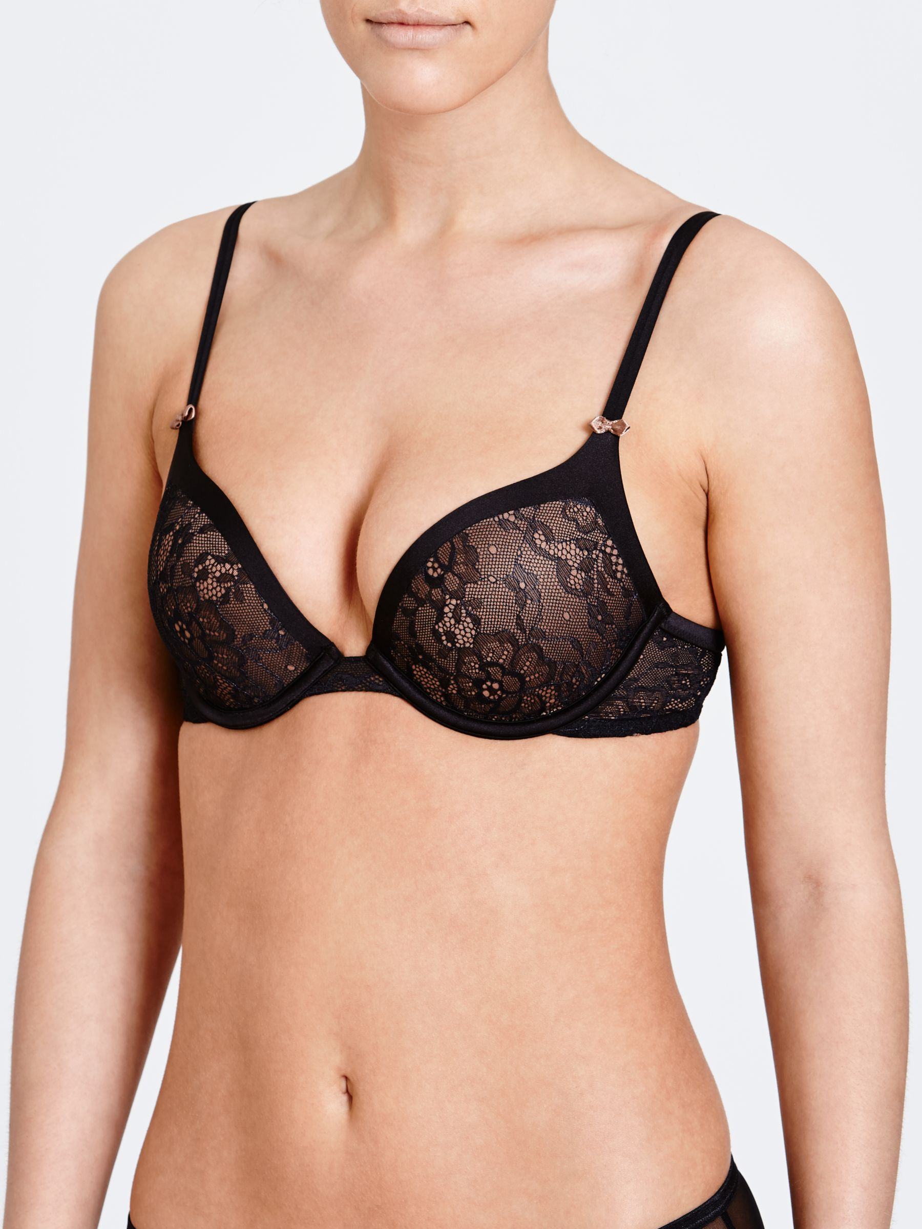 DKNY Super Sleek Embellished Push Up Bra, Black / Brownie