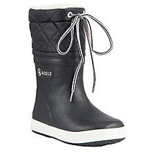 Buy Aigle Children's Giboulee Wellington Boots, Navy Online at johnlewis.com