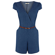 Buy Oasis Chambray Playsuit, Denim Online at johnlewis.com