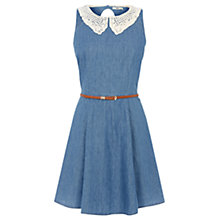 Buy Oasis Lace Collar Dress, Denim Online at johnlewis.com