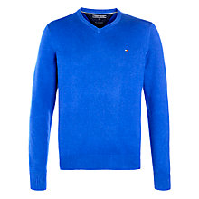 Buy Tommy Hilfiger Pima Cotton Cashmere V-Neck Jumper, Bright Blue Online at johnlewis.com