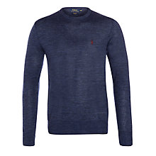 Buy Polo Ralph Lauren Crew Neck Merino Jumper, Medieval Blue Online at johnlewis.com