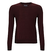 Buy Tommy Hilfiger Clayton Wool V-Neck Jumper, Merlot Online at johnlewis.com