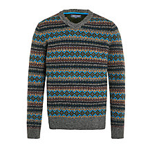 Buy Tommy Hilfiger Norman Fair Isle V-Neck Jumper, Silver Fog Heather Online at johnlewis.com