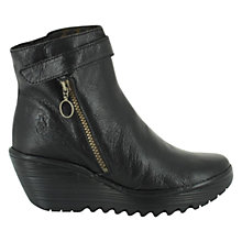 Buy Fly Yava Leather Wedge Ankle Boots, Black Online at johnlewis.com