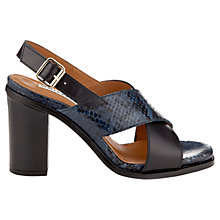 Buy Whistles Eva Cross Over Block Heel Leather Sandals, Navy Online at johnlewis.com