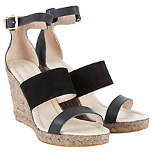 Buy Mint Velvet Greta Leather Raffia Wedge Sandals, Black Online at johnlewis.com