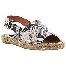 Buy Dune Black Janny  Slingback Espadrille Sandals, Natural Reptile Online at johnlewis.com