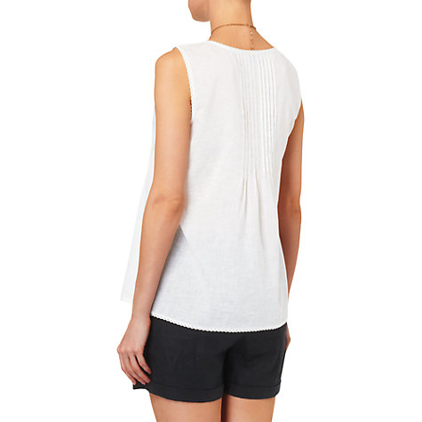 Buy Phase Eight Mindy Pintuck Sleeveless Linen Top, White Online at johnlewis.com