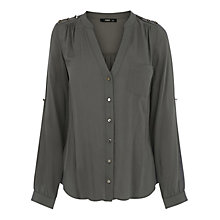 Buy Oasis Military Button Detail Shirt, Khaki Online at johnlewis.com