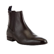 Buy BOSS Nevall Leather Chelsea Boots, Dark Brown Online at johnlewis.com