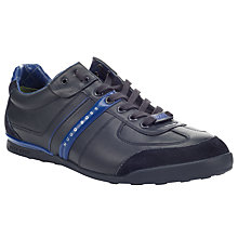 Buy BOSS Aki Wingtip Leather Trainers, Navy Online at johnlewis.com