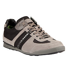 Buy BOSS Akeen Leather Trainers, Grey Online at johnlewis.com