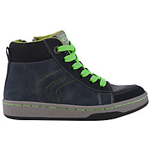 Buy Geox Mania High-Top Trainers, Navy/Lime Online at johnlewis.com