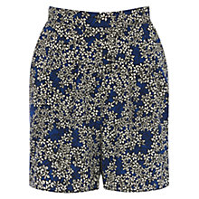 Buy Warehouse Blossom Print Shorts, Bright Blue Online at johnlewis.com