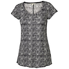 Buy Fat Face Ludlow Linen Graphic Aztec T-Shirt, Phantom Online at johnlewis.com