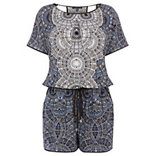 Buy Warehouse Pattern T-Shirt Dial Playsuit, Blue Pattern Online at johnlewis.com