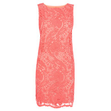 Buy Warehouse Gupure Lace Shift Dress, Bright Pink Online at johnlewis.com