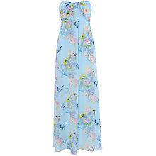 Buy True Decadence Ruched Bandeau Stork Print Dress, Light Blue Online at johnlewis.com