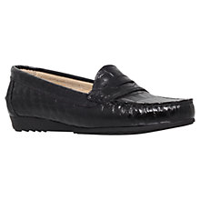 Buy Carvela Comfort Cassie Leather Croc Print Loafers, Black Online at johnlewis.com