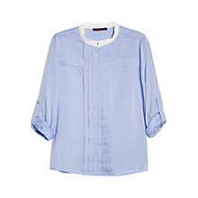 Buy Violeta by Mango Herringbone Textured Blouse, Medium Blue Online at johnlewis.com