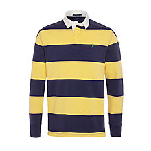 Buy Polo Ralph Lauren Long Sleeve Block Stripe Rugby Top, Yellow/Navy Online at johnlewis.com