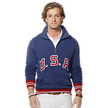 Buy Polo Ralph Lauren USA Half Zip Jumper, Brigham Blue Online at johnlewis.com