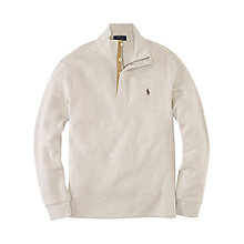 Buy Polo Ralph Lauren Button Neck Jersey Top, Almond Online at johnlewis.com