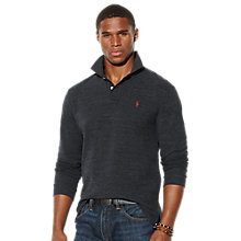 Buy Polo Ralph Lauren Long Sleeve Polo Shirt, Charcoal Heather Online at johnlewis.com