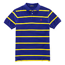 Buy Polo Ralph Lauren Stripe Custom Fit Polo Shirt, Blue/Yellow Online at johnlewis.com