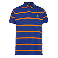 Buy Polo Ralph Lauren Pique Cotton Stripe Polo Shirt, Blue/Orange Online at johnlewis.com