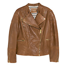 Buy Violeta by Mango Leather Biker Jacket, Medium Brown Online at johnlewis.com