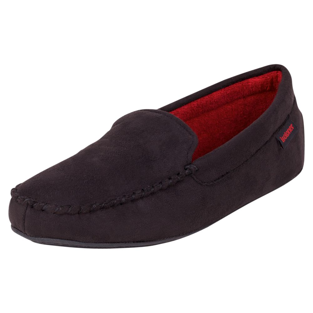 Totes Totes Suedette Moccasin Slippers, Black