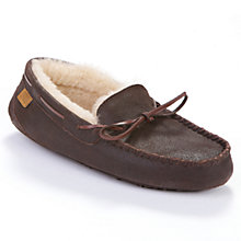 Buy Just Sheepskin Torrington Slippers, Distressed Brown Online at johnlewis.com