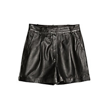 Buy Mango High-Waisted Leather Shorts, Black Online at johnlewis.com