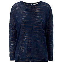 Buy Whistles Slubby Button Back Boxy Top, Navy Online at johnlewis.com