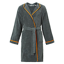Buy House by John Lewis Hooded Bath Robe, Steel / Orange Online at johnlewis.com