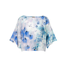 Buy Jigsaw Watercolour Print Kimono Top, Blue Online at johnlewis.com