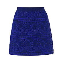 Buy Jigsaw Cutwork Bead Mini Skirt, Sapphire Online at johnlewis.com