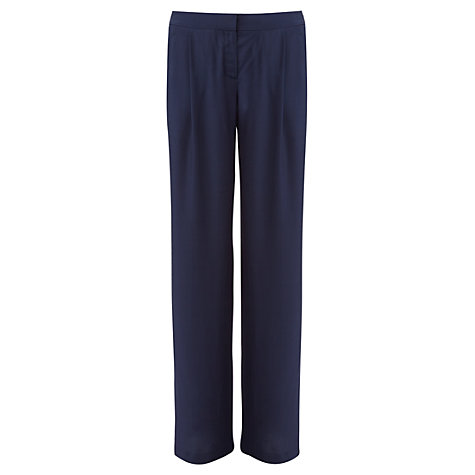 Buy Jigsaw Viscose Wide Leg Trousers, Navy Online at johnlewis.com