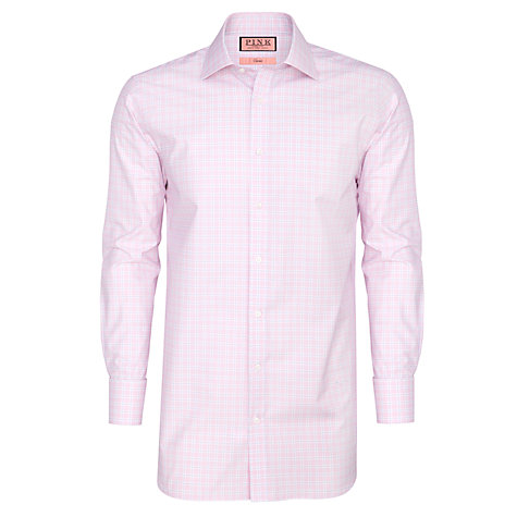 Buy Thomas Pink XL Sleeve Ballarne Check Shirt, Pink/White Online at johnlewis.com