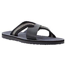 Buy Dune Indiana Cross Over Canvas and Leather Sandals, Black Online at johnlewis.com